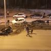 Ночью на Краснолесья разбился Lexus, зацепив три иномарки на дублёре