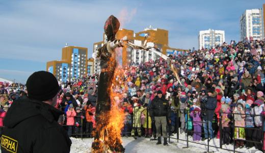 «Гори-гори ясно»: в Академическом более 500 человек погуляли на Масленице