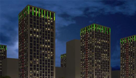 Верхние этажи всех «свечек» 26 квартала подсветят и синхронизируют