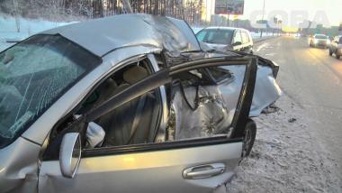 Аварию на выезде из Академического снял видеорегистратор