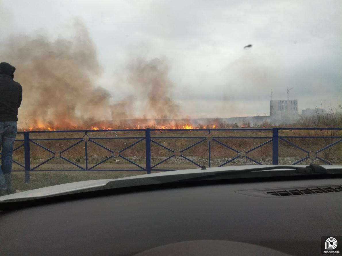 Снова пожар: за Патрушихой возле ТЦ «Лента» загорелась трава