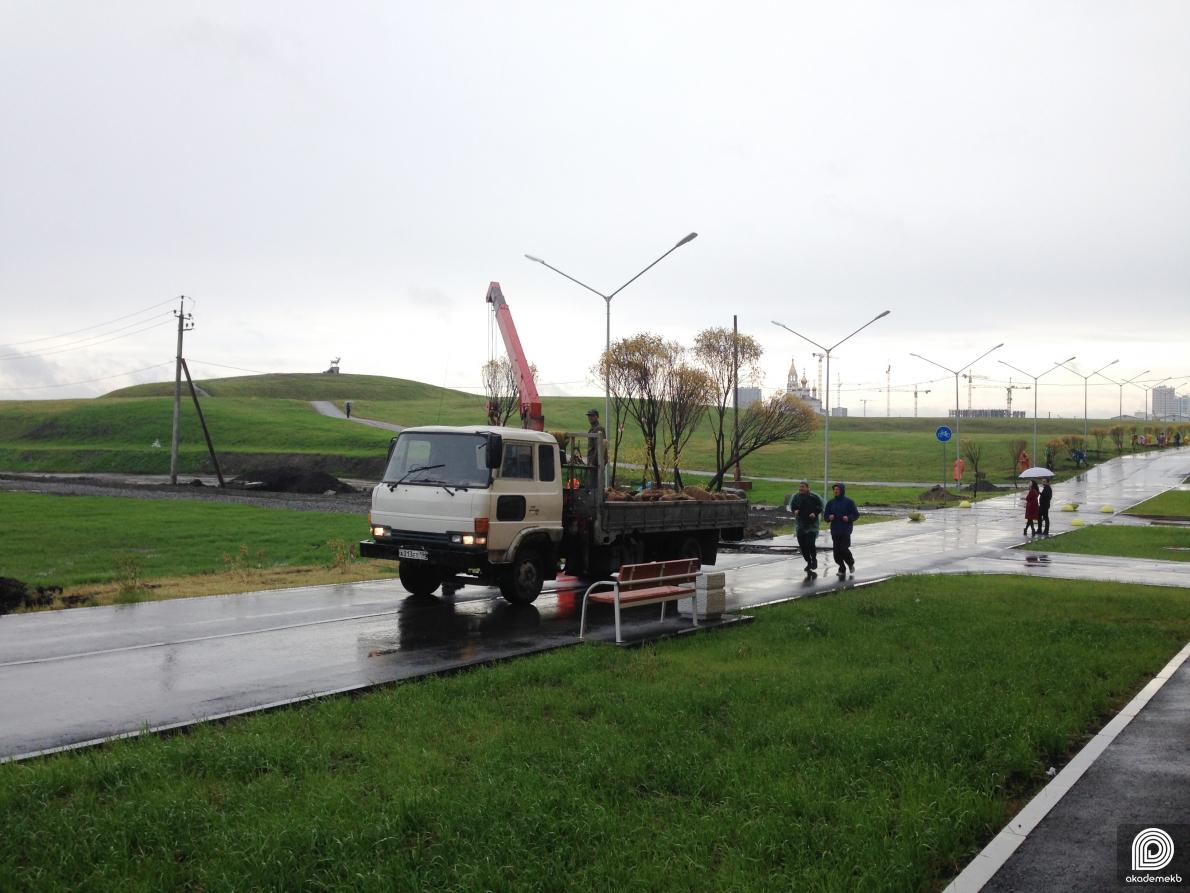 Застройщик продолжает работы по озеленению Преображенского квартала